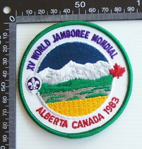 VINTAGE 1983 BOY SCOUTS WORLD JAMBOREE MONDIAL EMBROIDERED CLOTH SEW-ON BADGE