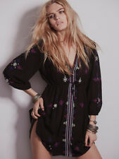 NWT FREE PEOPLE STARGAZER EMBROIDERED BOHO MINI DRESS TUNIC SIZE M MEDIUM $128