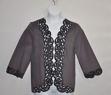 Bob Mackie Embroidered Cut Out Jacket Size 1X Taupe