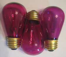 3 Transparent Fuchsia Marquee/Sign/Amusement Park/Party Light Bulb Standard Base