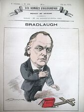 BRADLAUGH NATIONAL SECULAR SOCIETY CARICATURE DEMARE HOMMES D'AUJOURD'HUI 1878