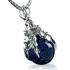 Fine Women 925 Sterling Silver Amethyst Ball Dragon Claws Necklace Pendant YT59