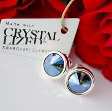 925 Silver Stud Earrings Crystals From Swarovski® RIVOLI Graphite Moonlight F