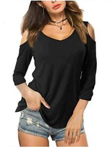 Amoretu Summer Blouse Short Sleeves Tunic Cold, A:3/4 Sleeve-black, Size X-Large