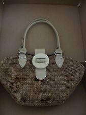 Handmade Brown Burlap Look Shoulder Bag with Beige Handles and Outside Closure