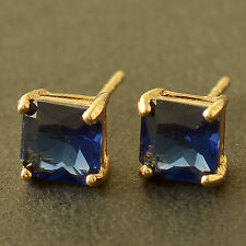 Authentic 9K Solid Gold Filled Square 7mm Sapphire Womens Stud Earrings,Z5127