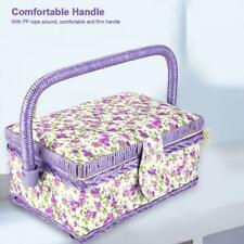 Portable Double Layer Sewing Basket Thread Needle Storage Box w/ Durable Handle
