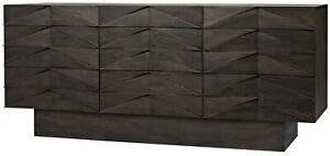 "75"" L Sideboard Ebony Walnut Solid Wood Modern Plinth Base Triangle Front Detail"