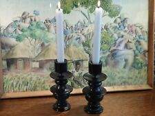AN ANTIQUE PAIR  OF * AFRICAN  * TURNED WOODEN * EBONY * CANDLESTICKS