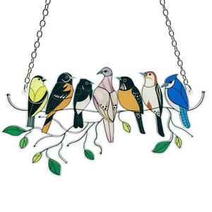 Birds On-A-Wire High Stained Glass Suncatcher Window Panel Art Hanging OrnamenSG
