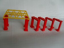 VINTAGE TOMY TRACKMASTER RED BRIDGE TRACK SUPPORTS X 6 + YELLOW BRIDGE SIDES X2