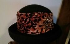Ladies Black Felt Hat With Leopard Trim and a Jeweled Spider