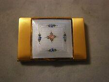 Vintage La Mode Enamel  Blue Floral Guilloche Compact Powder Rouge Lipstick