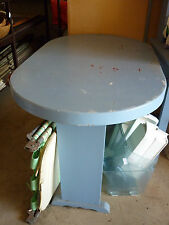 1960'S BLUE PINE & PLY OVAL TABLE