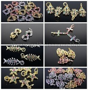 Multi-Colored Zircon Gemstones Pave Pendant Charms Beads Silver Gold Plated