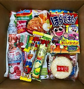 Asian Snack Box 25 Pieces w/ 3 FULL SIZE Items Including Drink & Instant Noodles