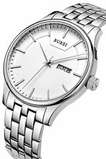 BUREI Stainless Steel Men's Quartz Wrist Watch Day & Date Calender - NEW