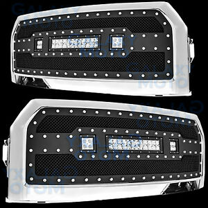 15-17 Ford F150 Rivet Black SS Mesh Grille+Chrome Shell W/ 2x LED+LED Light Bar