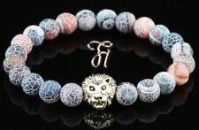 Achat bunt matt - silberfarbener Löwenkopf - Armband Bracelet Perlenarmband