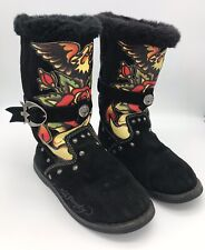 Ed Hardy Black Leather Warm Graphic Pull On Boots Size 5