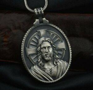God Jesus Kruzifix Christlich Medaillon Anhänger Halskette 925 Silber Geschenk