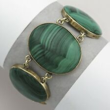 Antique Victorian 9K Yellow Gold Natural Malachite Wide Link Bracelet