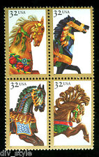 Carrousel Chevaux MNH Bloc de 4 TIMBRES USA 1995