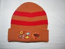 Bonnet chapeau en tricot enfant orange brodé pour fille