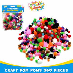 180/360 CRAFT POM POM Mini-Pompoms Various Sizes Mixed Colours Arts & Crafts