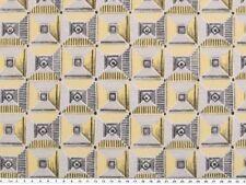Dekostoff, Quadrate und Dreiecke, gelb-grau, 140cm