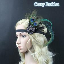 1920s Headband Peacock Feather 20s 20's Great Gatsby Flapper Headpiece gangster