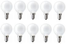 10 Lampade 15W E14 Incandescenza Lampadina sfera perla piccola smerigliata