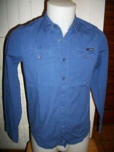 Chemise manches longues coton bleu stretch CALVIN KLEIN  S/38 imprimé logo