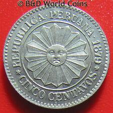 PERU 1879 CINCO 5 CENTAVOS LIMA SUN FACE FLOWER PROVISIONAL COIN 17mm no silver