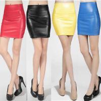 NWT Women Faux Leather Bodycon Pencil Short Mini Skirt High Waist Tight S-XL