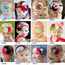 12pcs/lot Mix Baby Girls Kids Infant Toddle Headband Chiffon Flower Elastic Hand