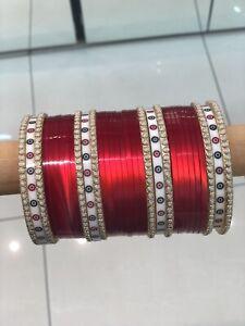 Red Traditional Bridal Chura , Paint Chura , Meena Chura , Pearl Traditional Red