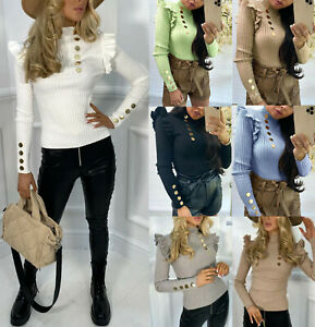Women's Frill Gold Button Jumper Ladies Fine Ribbed Mock Neck Party Top Jumpers