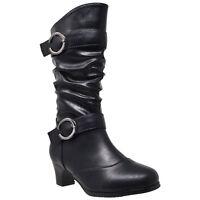 Kids Mid Calf Boots Double Buckle Zip Close High Heel Shoes Black
