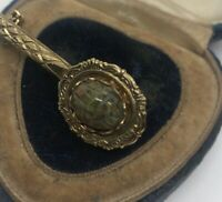 Vintage Fashion Costume Brooch Pin Gold Tone Scarab Stone Beetle Egyptian