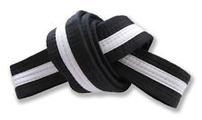 """2"""" Master Belt Black with White Stripe Double Wrap Sizing with 11-Stitching Rows"""