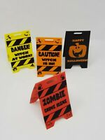 2 Table Top Caution Signs Halloween Party Decorations Fun Wet Floor Table Props