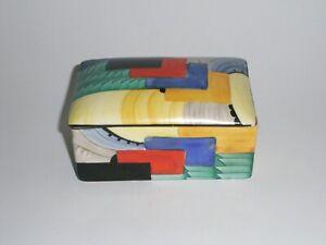 ORIGINAL GRAY'S POTTERY SUSIE COOPER ART DECO BOX & COVER, CUBIST PATTERN.