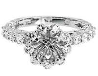 14k White Gold Round Diamond Floral Semi Mount Engagement Wedding Ring 1.71 ct