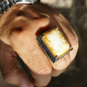Sterling Silver Big Mens Ring Butterscotch Amber Unique Handmade Jewelry size 13