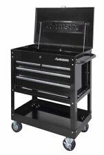 Mechanics Tool Utility Cart Heavy-Duty, 4-Tray and Keyed Lock Secure Lid, Black