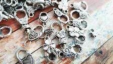 10 Large Lobster Clasps Antiqued Silver Assorted Lot Findings Jewelry Making