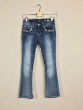 Miss Me Woman Jeans Pant Signature Boot Stretch Embroidered Blue Sz 25 L31