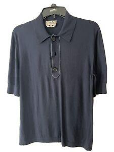 Hermes Polo Shirt Size S Short-Sleeved Dark Blue  Men