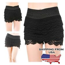 Fashion Sexy Women Korean Sweet Crochet Tiered Lace Skorts Black, S/M, Solid, td